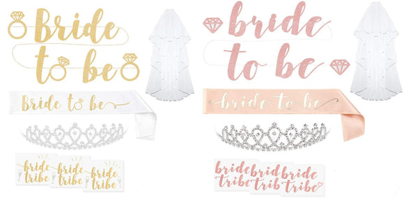 Bachelorette Party Bride To Be Decorations Kit - Bridal Shower Supplies | Sash For Bride, Rhinestone Tiara, Gold Glitter Banner, Bridal Veil