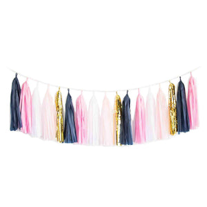 Navy, Pink, & Gold Tassel Garland Kit