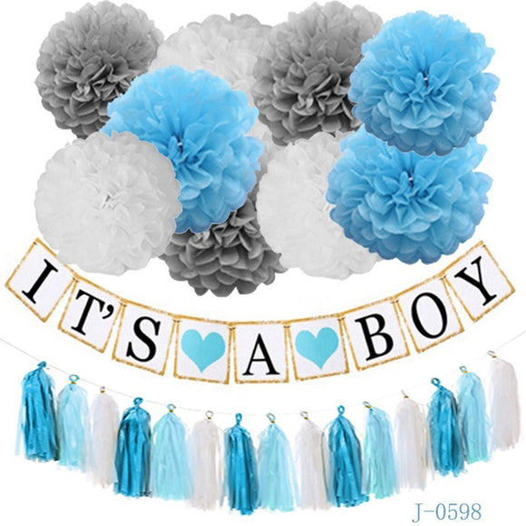 IT'S A BOY BANNER- Blue Grey White Baby Shower Party Decoration Set| Blue Baby Shower | Gender Reveal Party | Boys Baby Shower Supplies