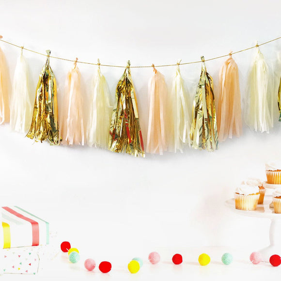 Peach, Ivory, Gold Tassel Garland Kit