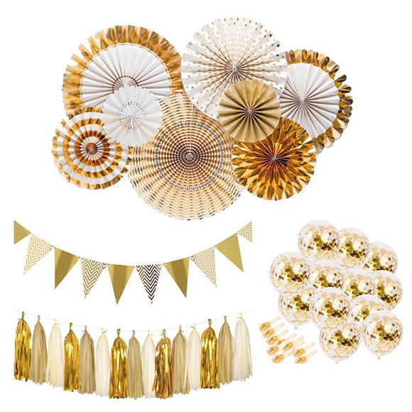 GOLD Party Decoration- Gold Paper Fans, Gold Tassel Garland, Gold Confetti Balloons, Gold Flags, Gold Birthday, Gold Wedding Decoraiton