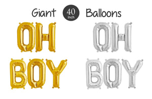"Giant OH BOY Balloons - 40"" Inch Gold Mylar Balloons, Silver Oh Boy Balloons - Baby Shower Balloons, Gender Reveal, Baby Shower Decorations"
