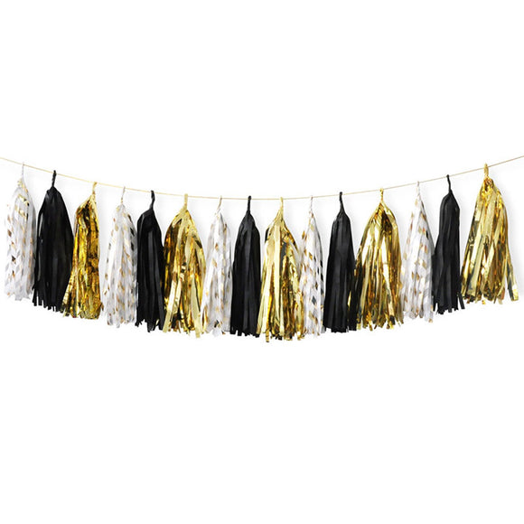 Black, Gold, White Striped Tassel Garland