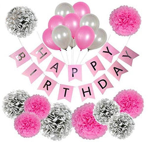 PINK SILVER BIRTHDAY Decorations - Pink Birthday Banner, Pink Girls Birthday Party Kit Decor, Pink Party Tassel, Pink Balloons