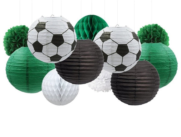 SOCCER PARTY Decoration, Gameday Soccer Party , Soccer Party Theme, Green Party Decoration, Soccer Hanging Decor, Green Poms, Green Lantern