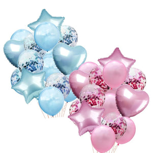 Pink, Blue STAR & HEART Confetti Balloon Set- Baby Shower Balloons, Pink Birthday Balloons, Blue Party Balloons, Foil Heart Balloons