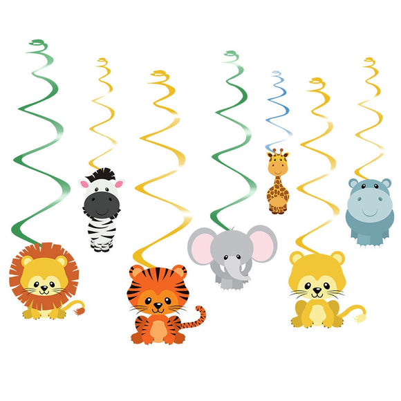 Safari Animal Jungle Ceiling Hanging Swirl, Zoo Party Decorations, Jungle Zoo Birthday Party Supplies, Boys Jungle Birthday Theme