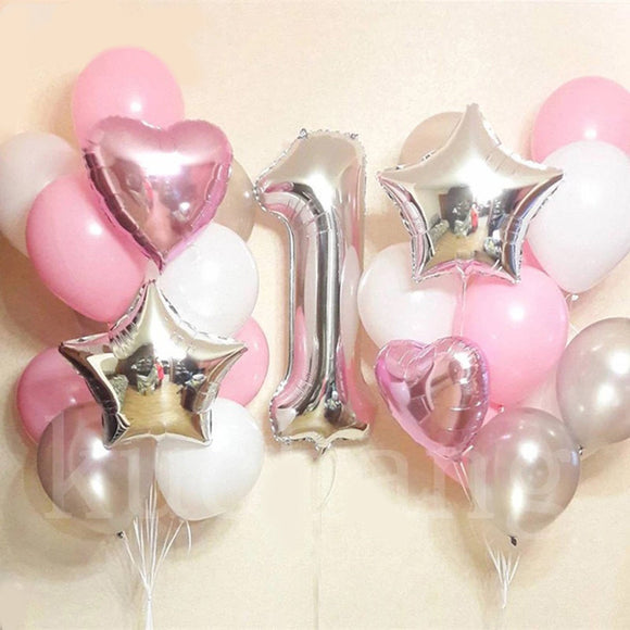 PINK GIANT Number 1 Balloon-Baby First Birthday Party Balloons | Girl's 1st Birthday Party | 1 year Number Balloon, Pink Balloon Bouquet