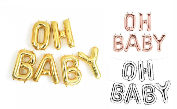 OH BABY Balloon Banner | Oh Baby Rose Gold, Gold, Silver Balloon for Baby Shower, Gender Reveal Party Balloon,