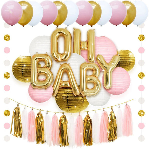 PINK and Gold Baby Shower Decorations for Girl - Its A Girl BABY SHOWER Party, Gender Reveal Party Kit Decor, Baby Shower Balloons | Tassels