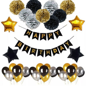BLACK and GOLD Birthday Party Decorations and Balloon Kit Set-DIY Mens Party Set | 30th, 40th, 50th, 60th, 70th Birthday Decoration Set