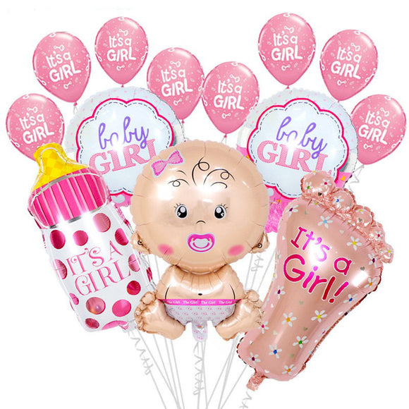 IT'S A GIRL SET Balloon Bouquet- Baby Shower for Girls, Girl's Baby Shower, Gender Reveal Party, PInk Shower Balloons, Baby Foil Balloon