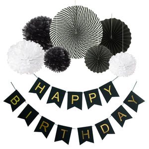 Black and White Birthday Party Fan Decoration Set