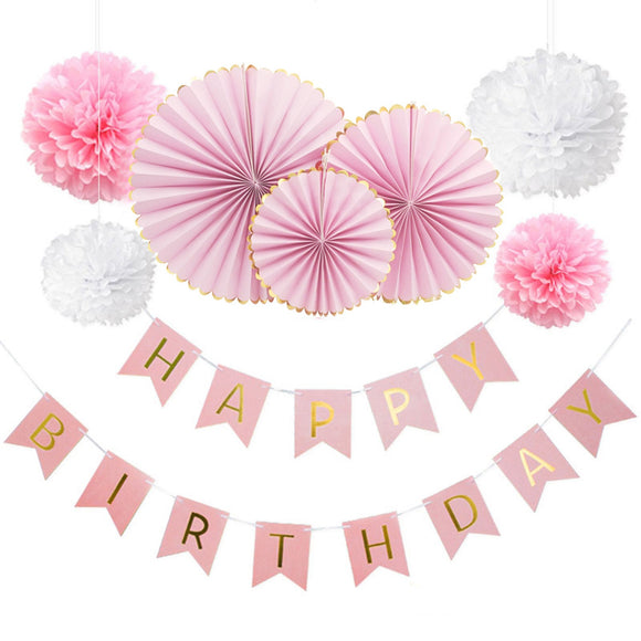 PINK Birthday Party Fans Decoration Set-Girls Birthday Party | Baby Shower Decoration for Girl | First Birthday Party | Princess Party Decor