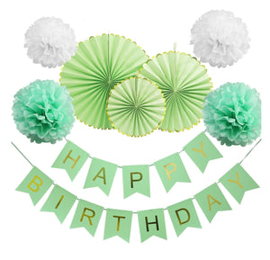 Mint Green Birthday Party Fan Decoration Set