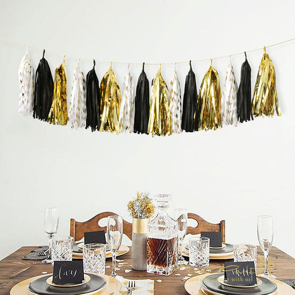 Black, Gold, White Tissue Paper Tassel Garland - Black Gold Birthday Decoration, Black Party Tassel Garland, Bachelor Party Decoration