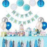 BLUE & SILVER Party Decoration Set -Boy's 1st Birthday Party, Blue Happy Birthday Banner, Blue Theme Party Set, Blue White Balloons, Tassel