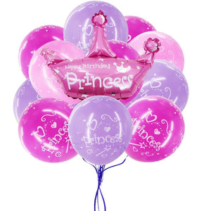 PRINCESS PARTY BALLOONS, Princess Party Decoration, Pink and Purple Princess Birthday, Princess Crown Balloon, Tiara Mylar Balloon,