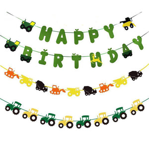 Excavator Truck Happy Birthday Banner, Truck Birthday Party, Construction Vehicle Garland, Farm Birthday Party Decorations, Green Truck