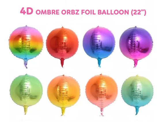 4D Foil Orbz Round Sphere Balloon - Ombre 22in