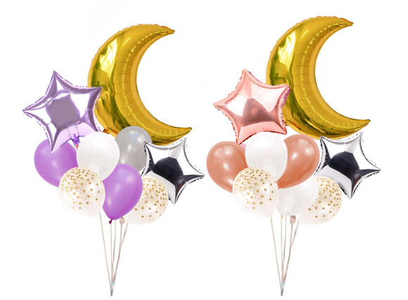 MOON & STAR Balloons-Girl Baby Shower Decoration, Rose Gold Moon Balloons, Girl Birthday Balloons, Purple Party Balloons, Moon Star Balloons