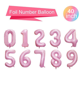 "Baby Pink 40"" Number Balloons - Number Balloons, Giant Number Balloons, Jumbo Balloons, Age Balloons, Birthday Age Balloons"