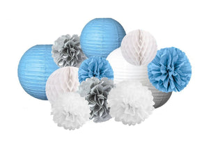 Blue Boy's Baby Shower Decoration - Baby Blue Poms & Lantern Set-DIY Boys Party Set, Blue Birthday Theme, Blue and Silver Party