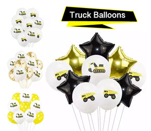 Yellow Truck Party Balloons - Construction Party Theme, Boy's Birthday Party, Bulldozer, Tractor, Dump Truck Party Decoration