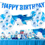 Shark Party Decorations - Shark Balloons, Shark Birthday Banner, Shark Swirls, Boy's Birthday Party, Shark Party Theme