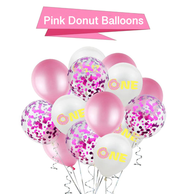 PInk Donut Party Balloons - Donut Party Decorations, One Year Old Balloons, Pink Baby Shower Balloons, Girls Baby Shower