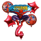 Spiderman Balloons - Spiderman Party Decorations, Boy's Birthday Party, Superhero Party Theme, Spiderman Number Foil Bouquet