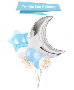 Moon and Star Balloons - Twinkle Little Star Balloons, Blue Twinkle Little Star Baby Shower, Boy Baby Shower Balloons, Gender Reveal Party
