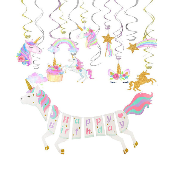 Unicorn Party Banner & Unicorn Swirl