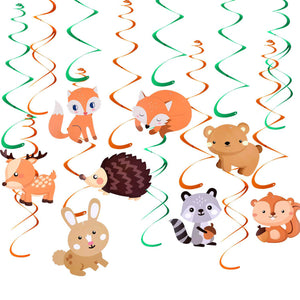 Woodland Animal Swirl Decorations - Ceiling Streamers for Woodland Baby Shower Birthday, Forest Theme Party Decoration