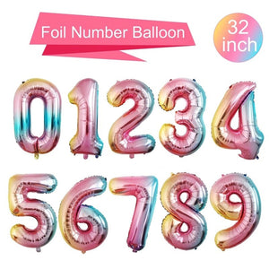 "Rainbow 32"" Number Balloons - Number Balloons, Giant Number Balloons, Jumbo Balloons, Age Balloons, Birthday Age Balloons"