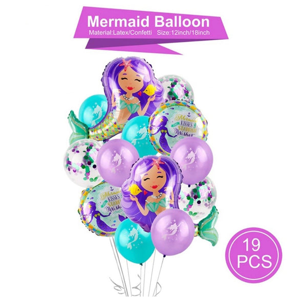 Mermiad Balloons Bouquet - Mermaid Party Decoration, Mermaid Foil Balloons, Mermaid Party Theme, Under The Sea Party