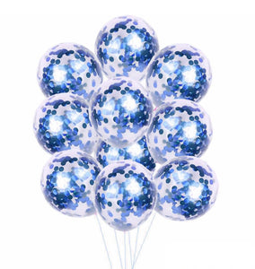 Royal Blue Confetti Balloons - Blue Confetti Balloons Bouquet, Birthday Balloons, Navy Royal Balloons, Balloon Bouquet