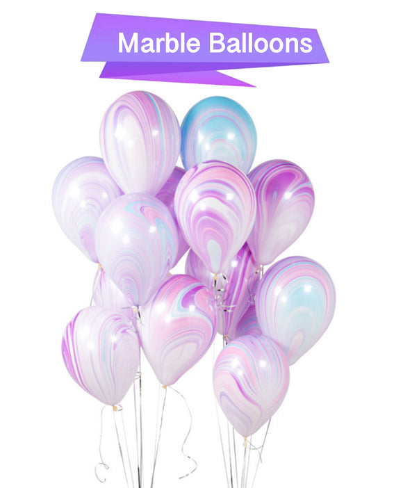 Unicorn Balloons -Purple Marble Balloons, Unicorn Party, Agate Latex Balloons, Girls Birthday Balloons, Purple Pink Swirl Balloons