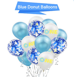 Blue Donut Party Balloons - Donut Party Decorations, Boy's 1st Birthday, Donut First Birthday Party, One is Fun, One Balloons
