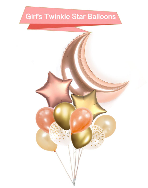 Rose Gold Moon and Star Balloons - Twinkle Little Star Balloons, Twinkle Little Star Baby Shower, Baby Girl Shower Balloons