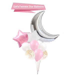 Pink Moon & Star Balloons - Girls Baby Shower Balloons, Twinkle Little Star Balloons, Girl Birthday Balloons, Pink Party Balloons