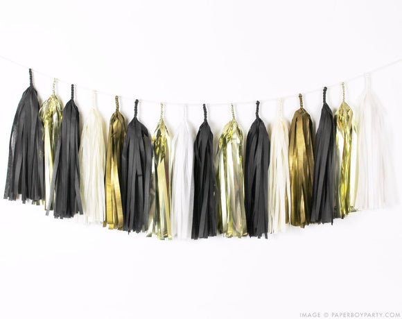 Black, White & Gold Tassel Garland Kit - Graduation Tassel