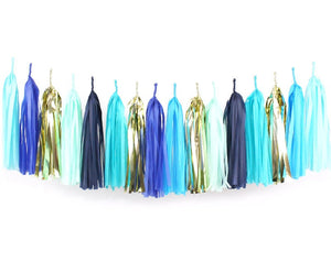 Navy, Blue & Gold Tassel Garland Kit