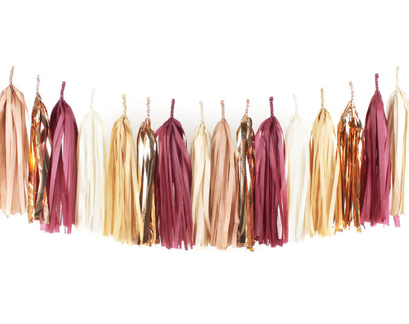 Burgandy, Ivory & Gold Tassel Garland Kit - Graduation Tassel