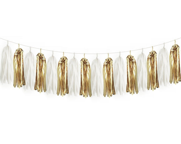 Gold and White Tassel Garland