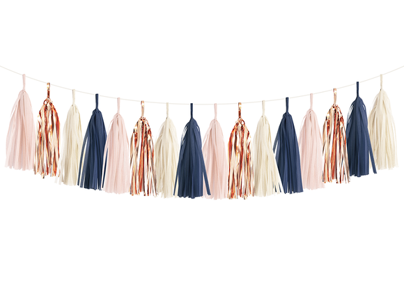 Navy, Pink & Rose Gold Tassel Garland Kit