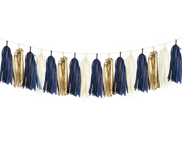 Navy, Ivory & Gold Tassel Garland Kit