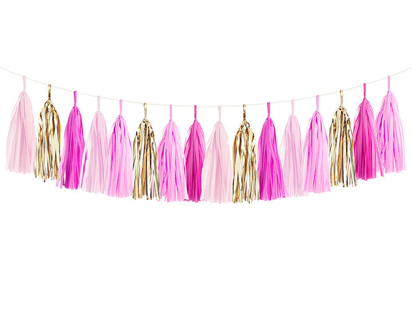 Hot Pink, Pink & Gold Tassel Garland Kit - Princess Party