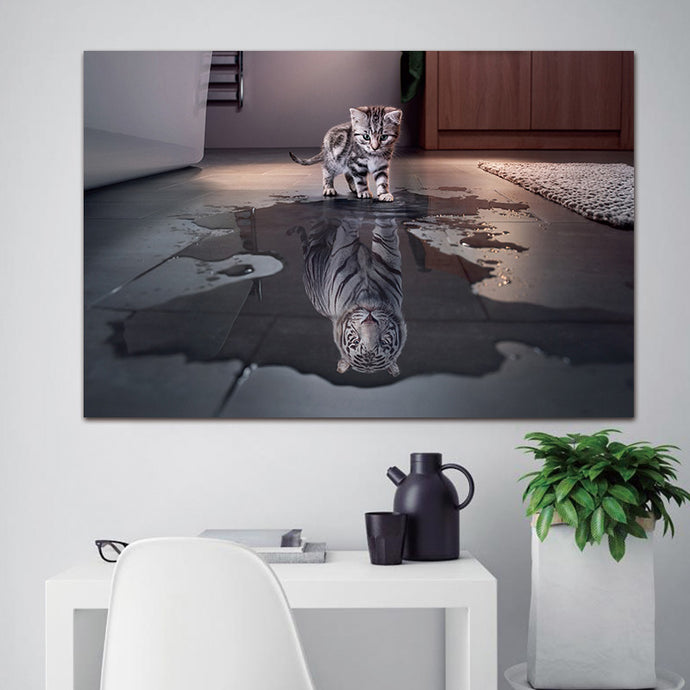 Newest Island 1 Panel Decorations Modern Canvas Prints Artwork Cat and Tiger Pictures Paintings Canvas Wall Art Painting Decor