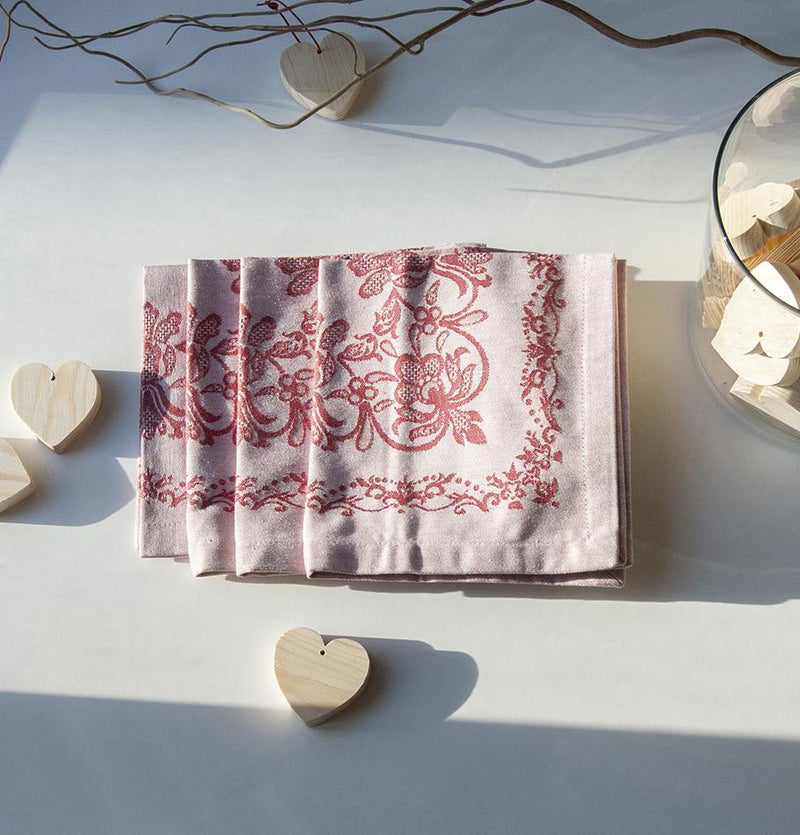 "100% Cotton Jacquard Napkins double-sided, 45 x 45 cm, 4 pc, ""FOREVER & EVER...the weave made"", bordeaux red"